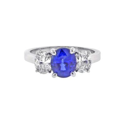 Pampillonia Oval Sapphire and Diamond Three Stone Ring