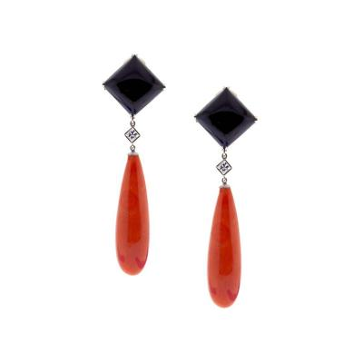 Pampillonia Pampillonia Large Coral and Onyx Drop Earrings