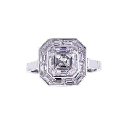 Pampillonia Pippa Middleton Style Asscher Cut Diamond Engagement Ring