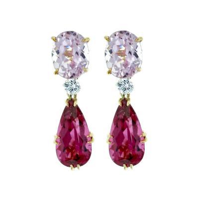 Pampillonia Rubellite And Kunzite Drop Earrings