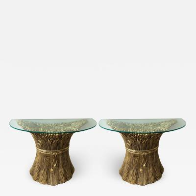 Panzeri Pair of Gilt Ceramic Console ears of wheat by Panzeri Italy 1980s