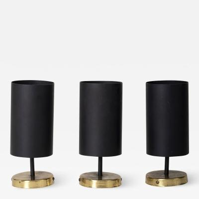 Parscot Set of 3 Brass and Black Spot Lights or Wall lights by Parscot Editions