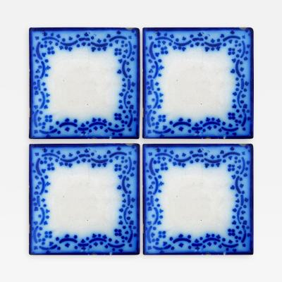 Pas de Calais Desvres Set of 35 Antique Ceramic Tiles by Pas De Calais Desvres France circa 1850s