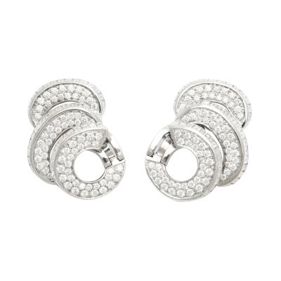 Pat Saling Contemporary Diamond Earrings in 18K White Gold by Pat Saling