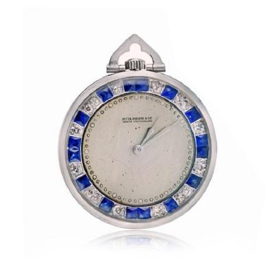 Patek Philippe Co PATEK PHILIPPE PLATINUM OPEN FACE POCKET DIAMONDS SAPPHIRE WATCH