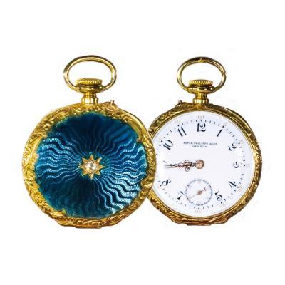 Patek Philippe Co Patek Philippe Enamel Diamond Pocket watch 1830s w Aquamarine Blue Rays