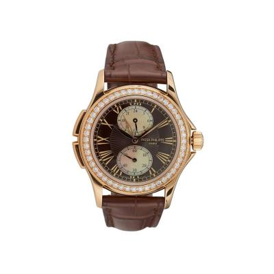 Patek Philippe Co Pre Owned Patek Philippe 18k Rose Gold Calatrava Travel Time Ladies Watch