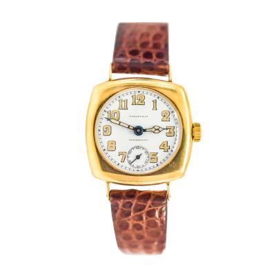 Patek Philippe Co Rare 1920s 18kt YG Tiffany for Patek Philippe Enamel Cushion Officers Wristwatch