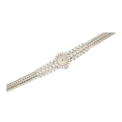 Patek Philippe Co Rare 1940s Patek Philippe Diamond 18kt White Gold Leaf Motif Wristwatch