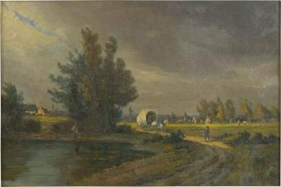 Path to Town Antique Landscape Painting Signed Illegibly 19th Century