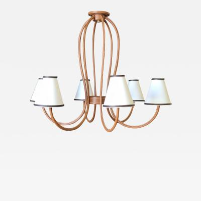 Paul Marra Design Adnet Style Leather Wrapped Chandelier