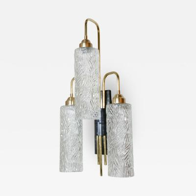 Paul Marra Design Aged Brass and Bronze Three Light Sconce with Vintage German Glass Shades