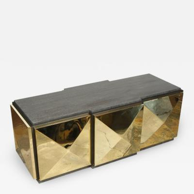 Paul Marra Design Brass Tile Cocktail Table Bench