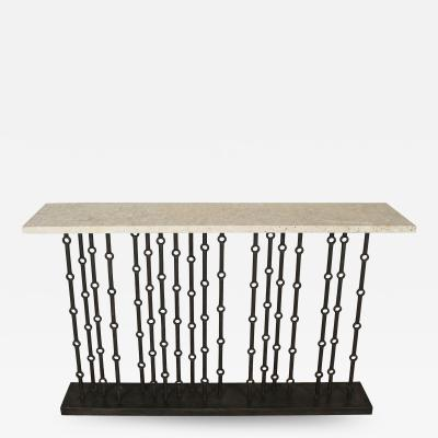 Paul Marra Design Iron Console with Stone Top by Paul Marra