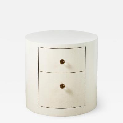 Paul Marra Design Italian Inspired 1970s Style Round Nightstand