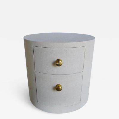 Paul Marra Design Linen Wrapped Round Nightstand by Paul Marra