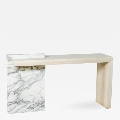 Paul Marra Design Marble and Bleached Oak Console by Paul Marra