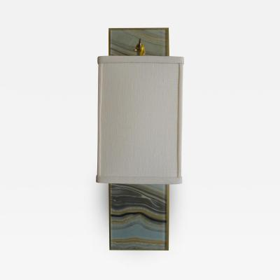 Paul Marra Design Modern Brass and Marbleized Wall Sconce V1