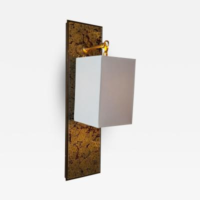 Paul Marra Design Modern Brass and Marbleized Wall Sconce V2 by