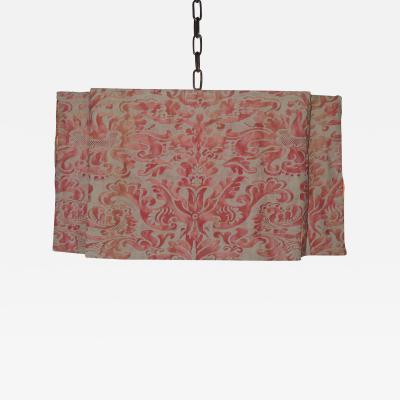 Paul Marra Design Modern Draped Chandelier in Vintage Fortuny Fabric