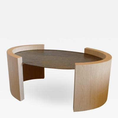 Paul Marra Design Oval Oak and Hammered Steel Cocktail Table
