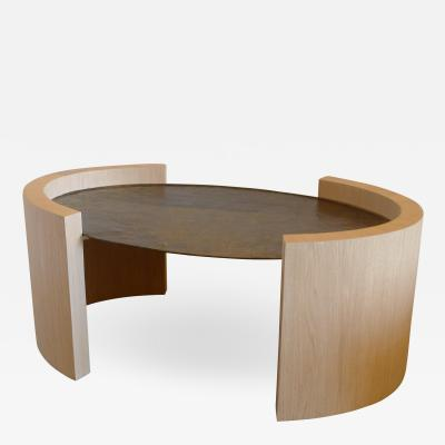 Paul Marra Design Oval Oak and Hand Hammered Steel Cocktail Table