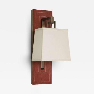 Paul Marra Design Red Leather Back Sconce