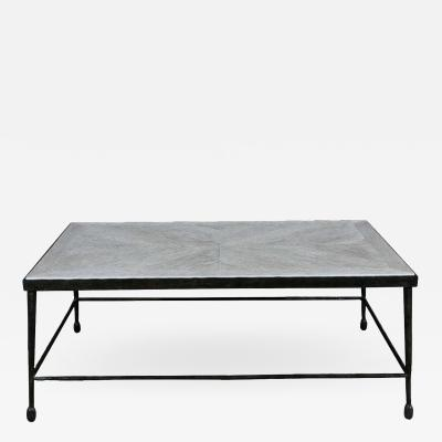 Paul Marra Design Textured Iron Cocktail table with inset Distressed Wood Top
