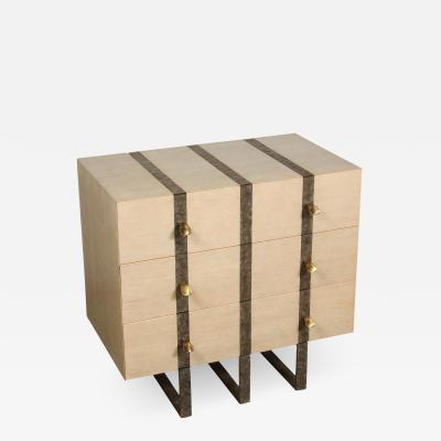 Paul Marra Design Three Drawer Banded Chest in Bleached Douglas Fir and Inset Iron Band