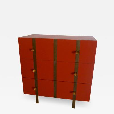 Paul Marra Design Three Drawer Banded Chest in Custom Lacquer and Inset Iron Bands