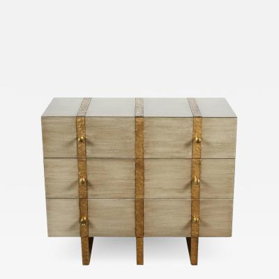 Paul Marra Design Three Drawer Banded Chest in Gray Stained Bleached Oak and Inset Iron Bands