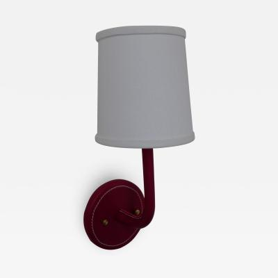 Paul Marra Design Top Stitched Leather Wrapped Sconce in Red