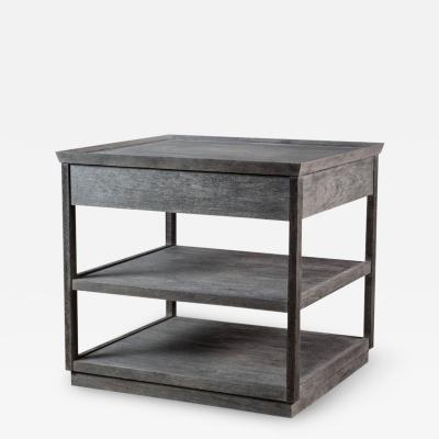 Paul Marra Design Two Tier Nightstand with One Drawer Shown in Distressed Alder