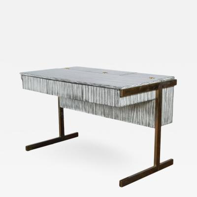 Paul Marra Design Writing File Desk in Gray Zebra Finish and Aged Brass