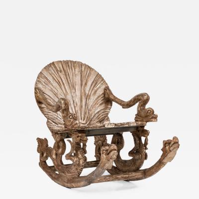 Pauly Co Italian Venetian Grotto Carved Seashell Rocker