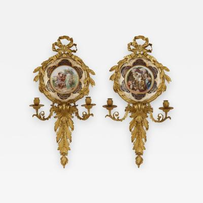 Pauly Co Pair of Italian porcelain and gilt bronze sconces by Pauly Co