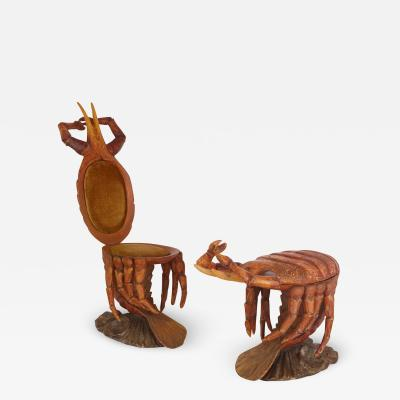 Pauly Co Pair of crab form Grotto chairs attributed to Pauly et Cie