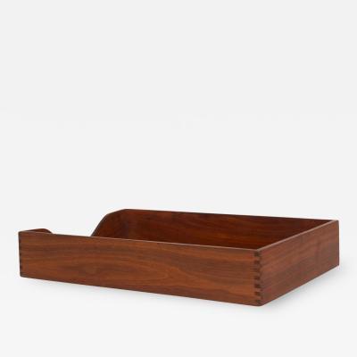 Peter Pepper Products Mid Century Modern Walnut Office InBox Desk Tray