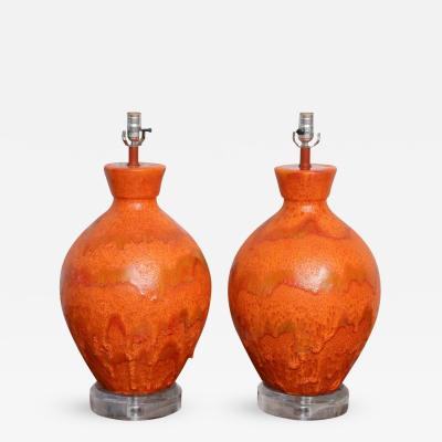 Pewabic Pottery Pr Monumental Sized Orange Mottled Glaze Ceramic Lamps attr Pewabic Pottery