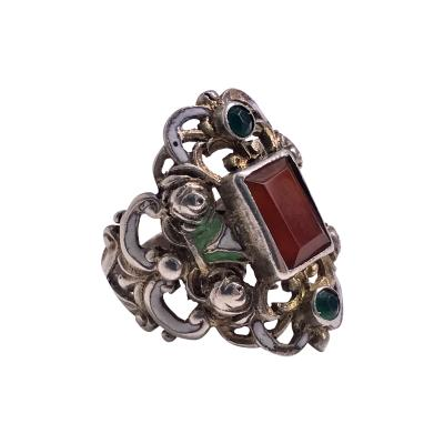 Pforzheim Arts and Crafts Silver Carnelian Enamel Ring probably Pforzheim C 1900