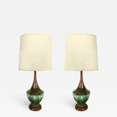Phil Mar Phil Mar Mid century Teak and Ceramic Table Lamps with Drip Glaze