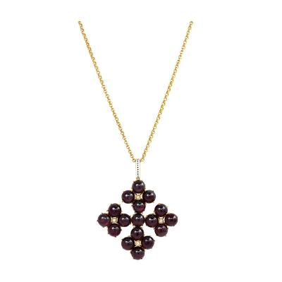 Phillips Brothers Victorian Gold Garnet and Diamond Maltese Cross Pendant Phillips London