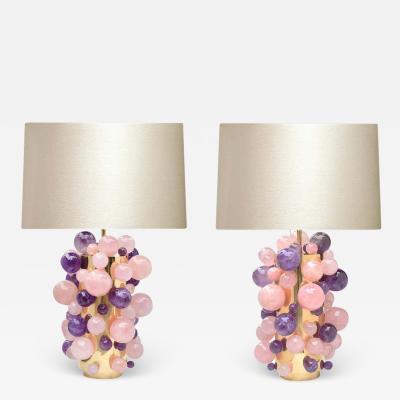 Phoenix Gallery Cherry Blossom Rock Crystal Bubble Lamps by Phoenix