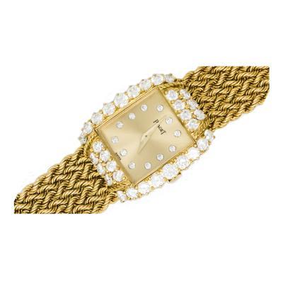 Piaget 1970s Piaget 18Kt Yellow Gold Dimaond Rope Motif Watch 2 65 carats D F VS1