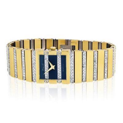 Piaget PIAGET POLO 18K YELLOW GOLD BLACK DIAL DIAMOND BRACELET LADIES WATCH