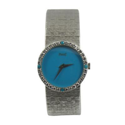 Piaget Piaget Ladys White Gold Diamond Turquoise Dial Wristwatch