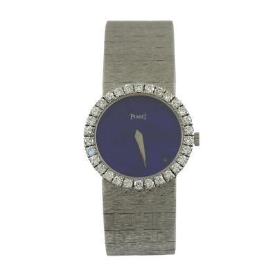 Piaget Piaget Ladys White Gold Lapis Lazuli Dial Diamond Bezel Wristwatch