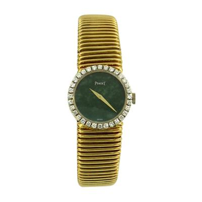 Piaget Piaget Ladys Yellow Gold Diamond Bezel Jade Dial Wristwatch