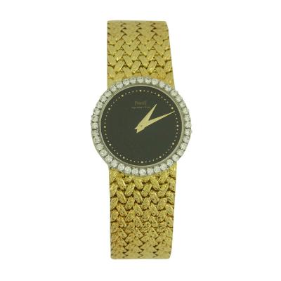 Piaget Piaget Ladys Yellow Gold and Diamond Bracelet Watch with Onyx Dial