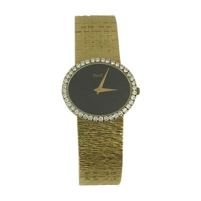 Piaget Piaget Ladys Yellow Gold and Diamond Bracelet Watch with Oval Shaped Onyx Dial